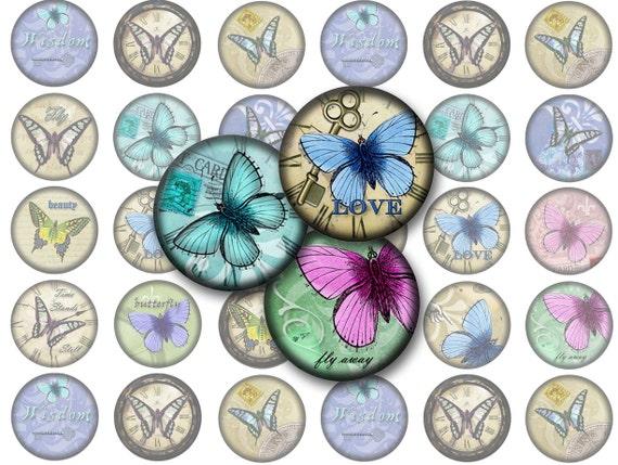 Farfalla Dellannata Stampabile 1 Inch Cerchi Bottlecap Etsy