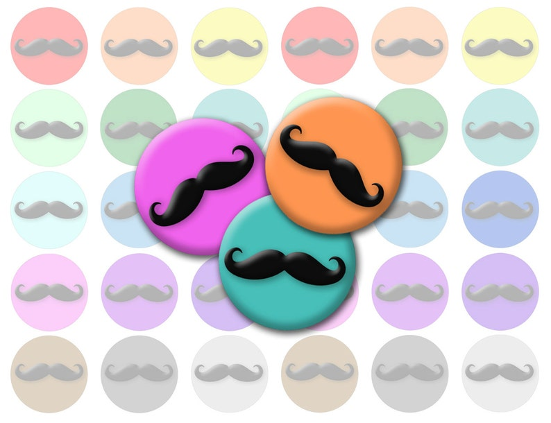 graphic regarding Printable Moustaches referred to as Rainbow Mustache Printable 1-Inch Circles / Bottlecap Illustrations or photos / Alternative Shades Moustaches Electronic Collage / Immediate Obtain