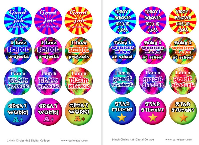 School Images for Teachers  Printable 1-Inch Circles  Back to School  Elementary School  Great Job Star Student Good Work A+