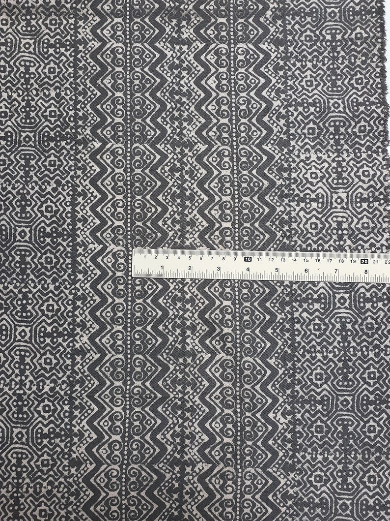 Thai Hand printed Fabric Natural Cotton Fabric by the yard Hmong Fabric Hill Tribe Fabric Vintage Fabric Batik Fabric Gray HFP54