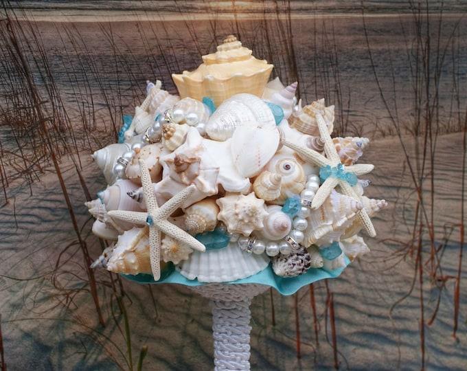 Seaside Bouquet  Tiffany Blue, Seaglass, Rhinestone Starfish and Seashell Bouquet and Boutonniere Set