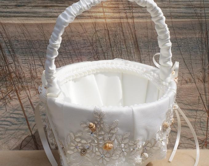 Seashell/Beach/ Wedding Flower Girl Basket Style Accessory for Beach, Seaside, Cruise, Summer Wedding.