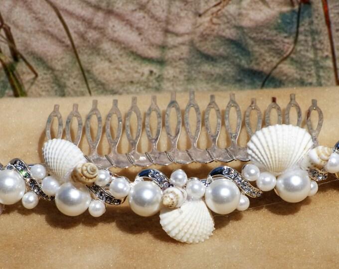 Beach/ Wedding Rhinestone, Pearl, and Seashell Comb Hair Accessory Headdress