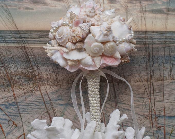 Pink Champagne Seashell Wedding Bouquet , Beach Wedding, Seaside Wedding, Destination wedding
