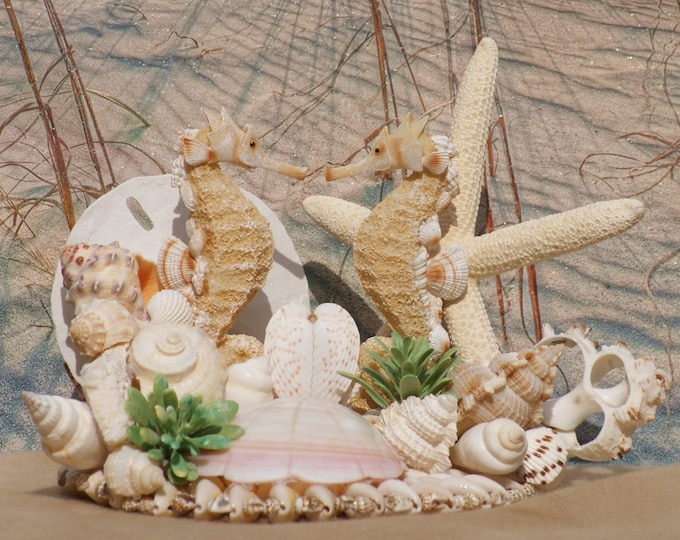 Seahorse Seashell and Starfish Bridal Cake Topper for any  Beach, Destination, Summer, Seaside Wedding