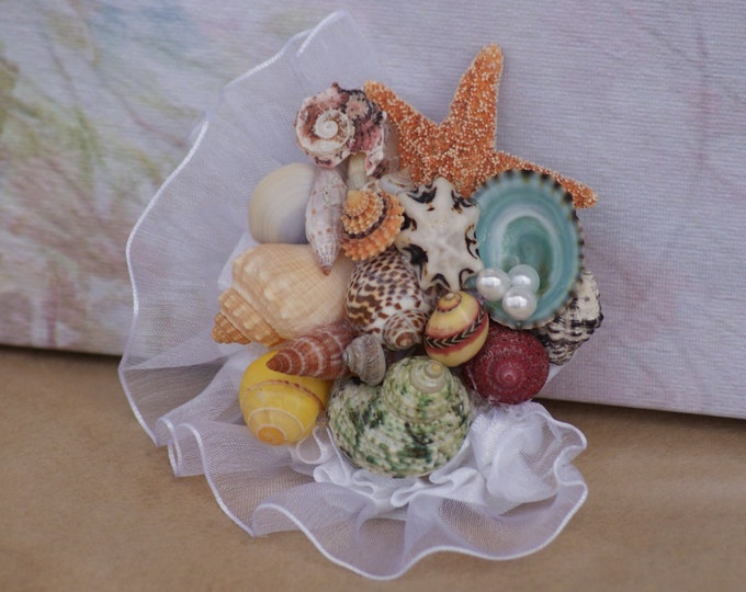 Womens Corsage/ Mothers Seashell Wedding Corsage Sample
