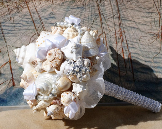 By the Silver Moon Rhinestone Starfish and  Seashell Wedding Bouquet /  Beach Bouquet / Summer Bouquet /  Made to Order