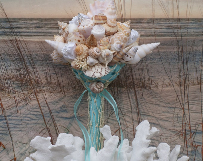 Petite Blue Seashell Bouquet / Beach Wedding/ Destination Wedding/ Seaside Wedding/