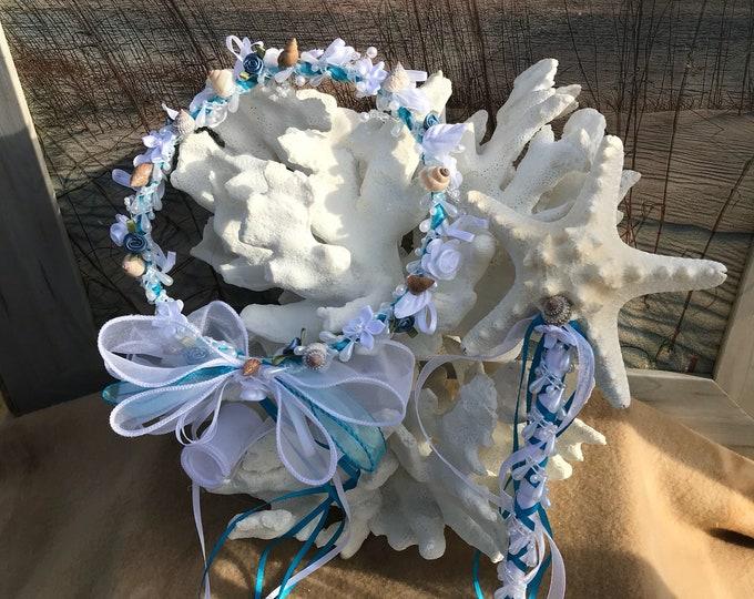 Mermaid Flower Girl Seashell Hair Crown and Starfish Wand Set