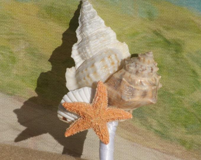 Boutonniere with Sugar Starfish and Seashell for Groom and Groomsmen, seaside, beach wedding