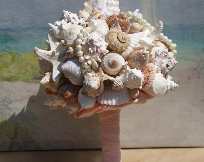 Extra Large Seashell  and Starfish Wedding Bouquet for any Beach Wedding, Seaside Wedding, Destination wedding