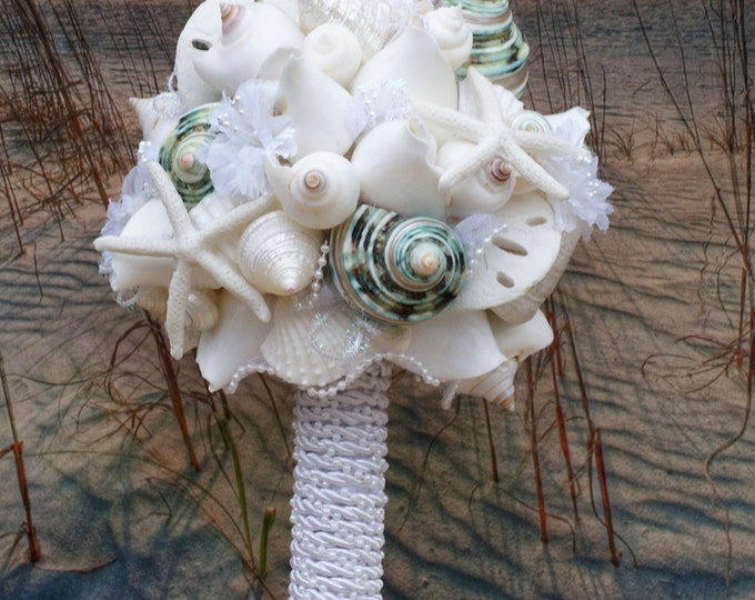 Ocean Green and White Starfish and Seashell Bouquet