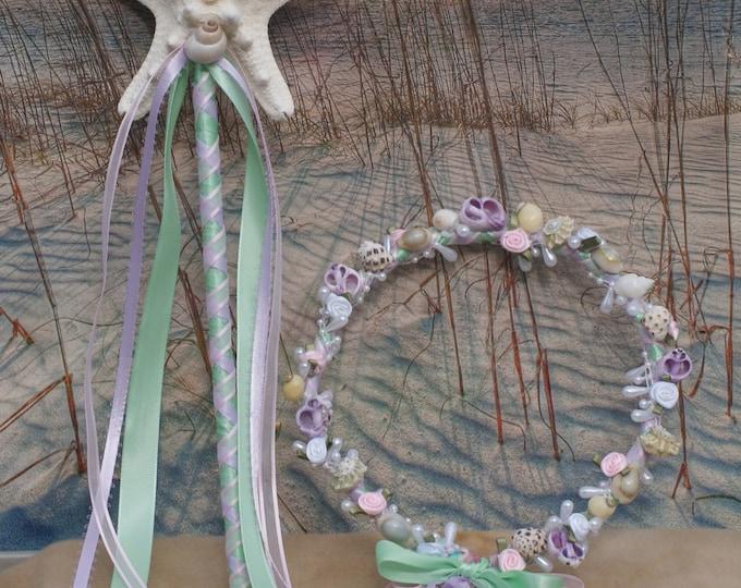 Pastel Mermaid Flower Girl Seashell Hair Crown and Starfish Wand Set