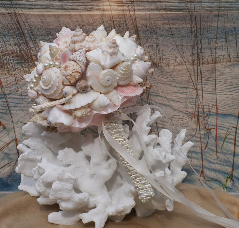 Pink Champagne Seashell Wedding Bouquet Beach Wedding Seaside