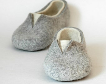 Felted slippers for women - Grey white home shoes - Natural woolen clogs - Boiled wool slippers - Bedroom slippers - Love slippers - Valenki