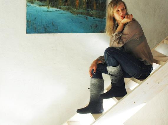 Feutrée bottes - bottes pour femme fait main - noires gris bottes - bottes noires - - bottes de l'Ombre - chaussures de femmes - hiver - neige bottes pour femmes 5ca34c