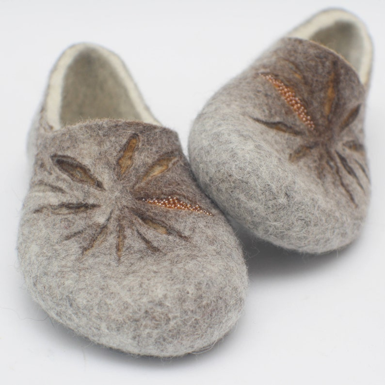 Felted slippers for women in milk white grey and little bit of tan