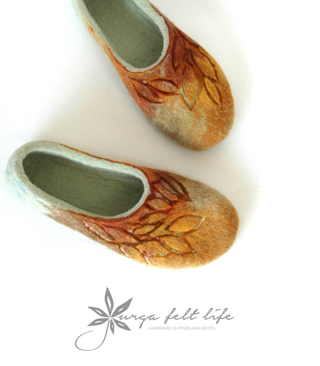 côté feutré de pantoufles pour les femmes - couleurs d'automne chaussures - marron - jaune - vert accueil chaussures d'automne f9c3d7
