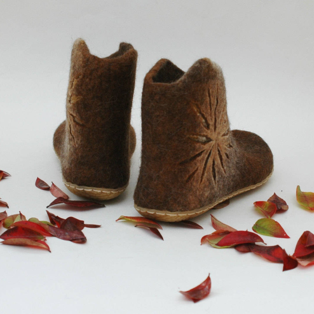 Felted Zapatos for for for Mujer - Handmade ankle  botas ies - Caramel Marrón Zapatos - Snow  botas ies - Winter Zapatos - Mujer  botas ies - Valenki 42f503