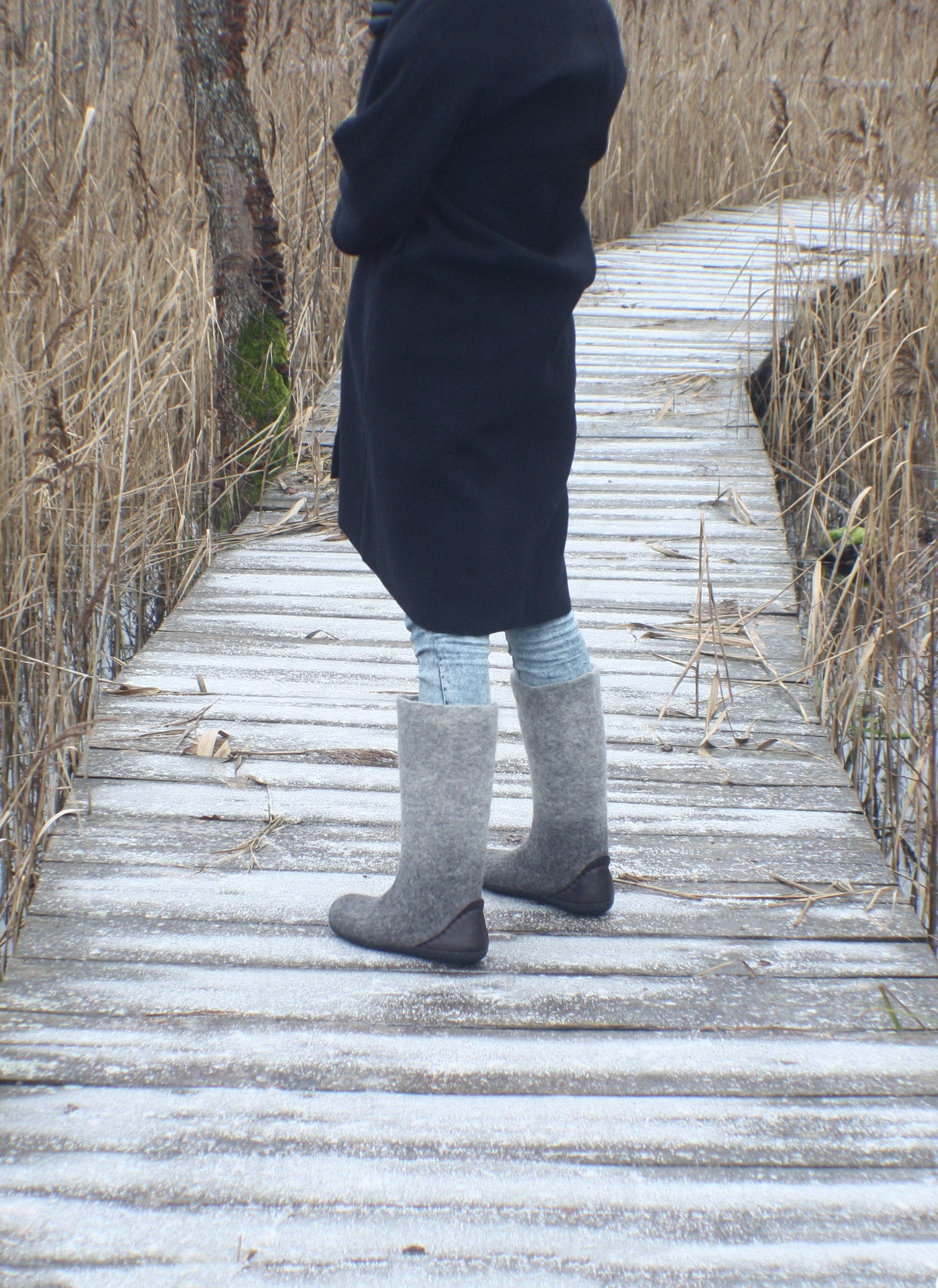 bottes pour femmes - neige feutrés d'hiver bottes - chaussures d'hiver feutrés - valenki - chaussures d'hiver - bottes - bottes - laine gris charbon, laine bouillie 3f2de1