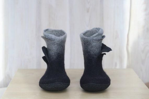 Gefilzte Stiefel Ombre Stiefel Rentier Fell Frauen Stiefel freien Geschenk Filzstiefel Winterstiefel Schneestiefel grau braune Stiefel