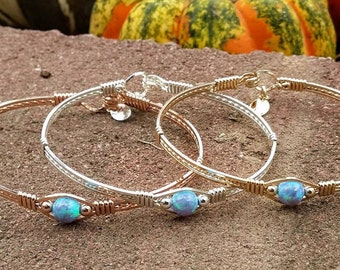 Silver, Gold, Argentium SIlver, Sterling SILver, 14kt Gold filled, Fire opal, Blue Opal, Synthetic opal