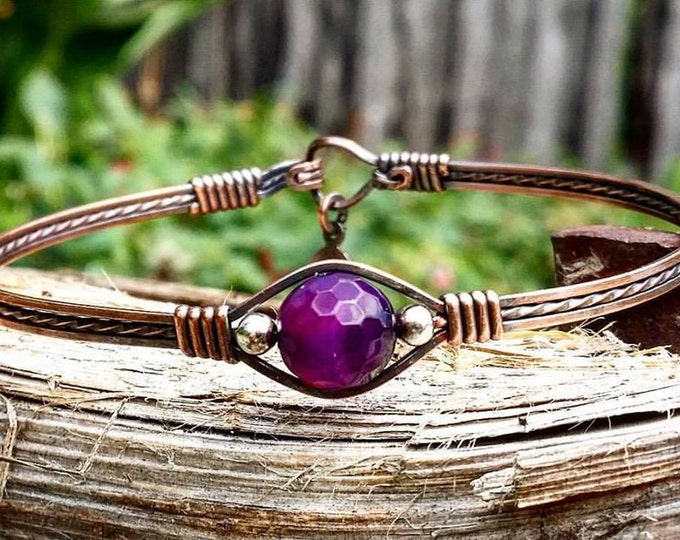 Purple Gemstone Bracelet, Copper Bracelet, Wire wrapped, Wire jewelry, Agate, Purple Semi-Precious gemstone