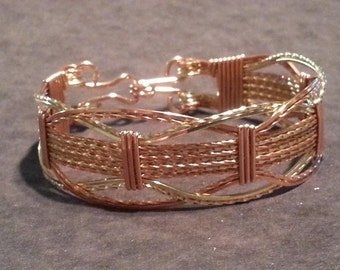 Wire wrapped Bracelet made in 14kt Gold Filled and Copper Artist wire