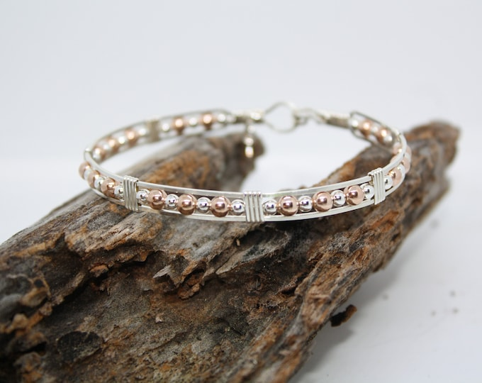 Pink Gold, Rose Gold, Sterling Silver, Argentium Silver, Bracelet, Bangle,Hand Crafted, Handmade, Wire Wrapped, Fine Jewelry