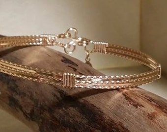 Gold Bangle Wire Wrapped, Wire Jewelry design