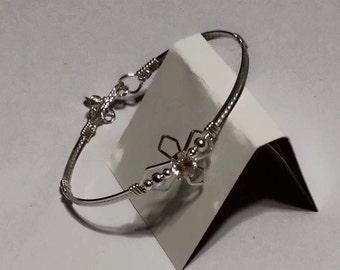 Silver Religious Cross birthstone bracelet bangle