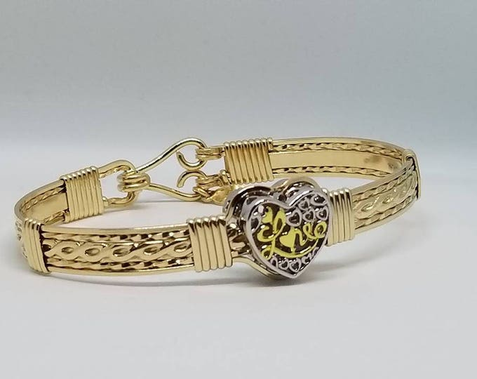 My Love- Heart Bracelet,Gold Bracelet,Valentine Bracelet,Silver and Gold Bracelet