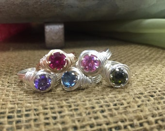Birthstone Rings silver plated cubic zirconia gemstone
