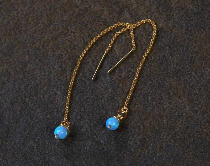 Blue Opal Threader earrings, minimalist,opal