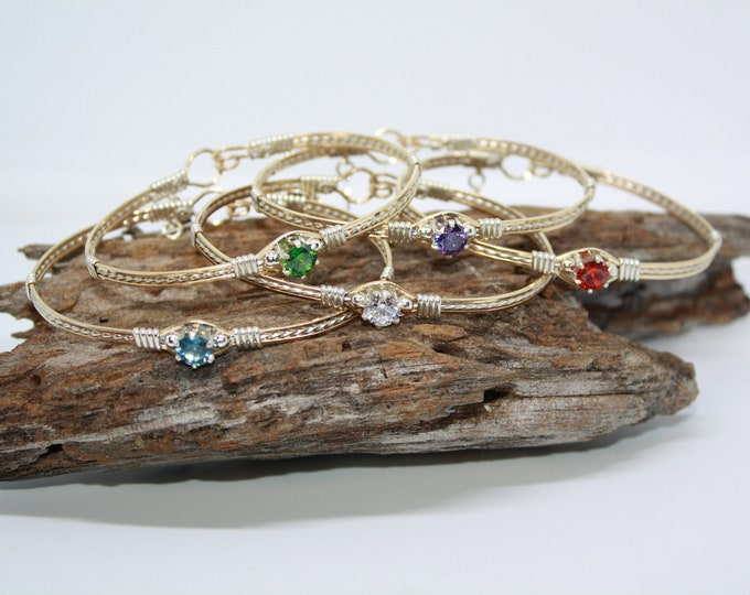 Birthstone Bracelet, Gold and Silver, CZ Bracelet
