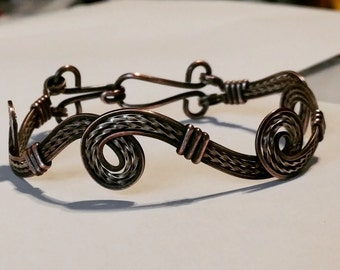 Silver and Copper beautifully antiqued wire wrapped bracelet