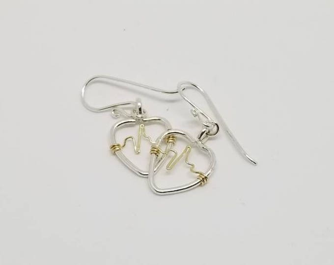 Silver hearts, heartbeat earrings, wire earrings, Silver and gold jewelry