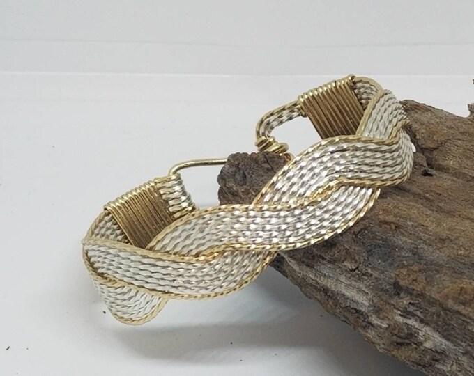 Waves Embrace Bracelet, Silver and Gold bracelet, Fine Silver, 14kt GF