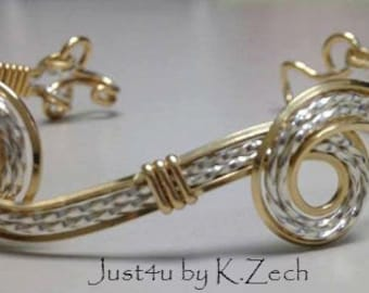 Gold, Sterling Silver, Wire wrapped bracelet bangle