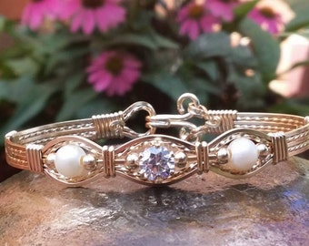 Gold Bangle, Pearls and CZ Wire Wrapped, Wire Jewelry