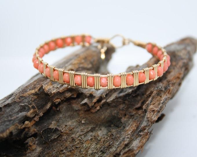 Gems and Gold Bracelet: Coral, Aqua Marine, Topaz, Crystal, Lapis Bracelets