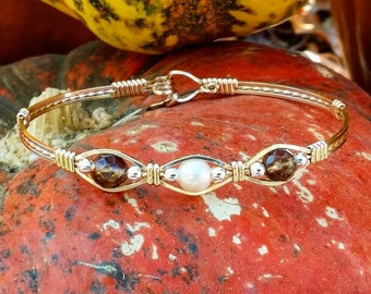 14kt Gold Filled,Wire Jewelry,Gold Wire Jewelry,Smoky Quartz,Freshwater Pearl,Wire Bracelet bracelets,Pearl bracelet