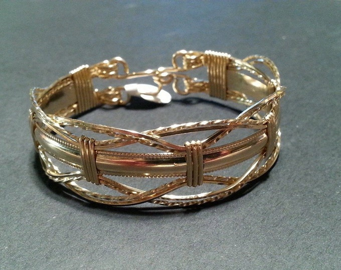 Gold Contessa- 14kt gold filled, wire wrapped wave bracelet