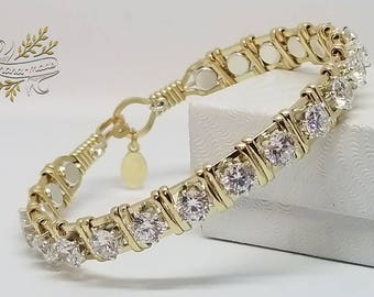 Diamond CZ,14kt GF,Sterling Silver,Wire Wrapped Gold Bracelet,Fancy Jewelry