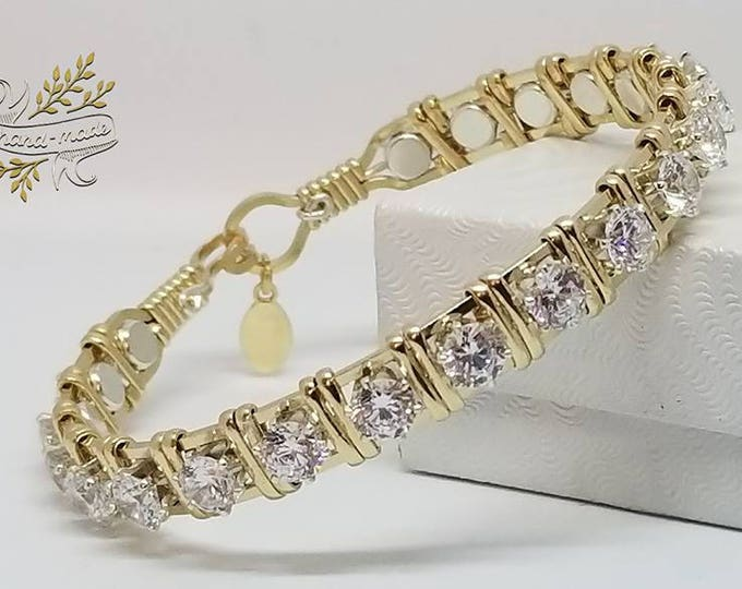 The Queens Crown: Diamond CZ,14kt GF,Sterling Silver,Wire Wrapped Gold Bracelet,Fancy Jewelry