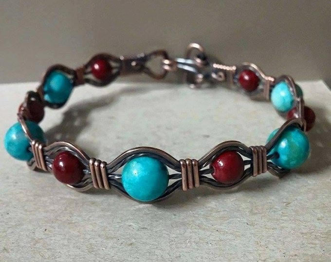 Native Streams, Copper bangle with Turquoise and Cranberry Quartzite