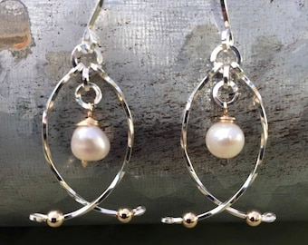 Sterling Silver and pearl earrings wire wrapped wire jewelry