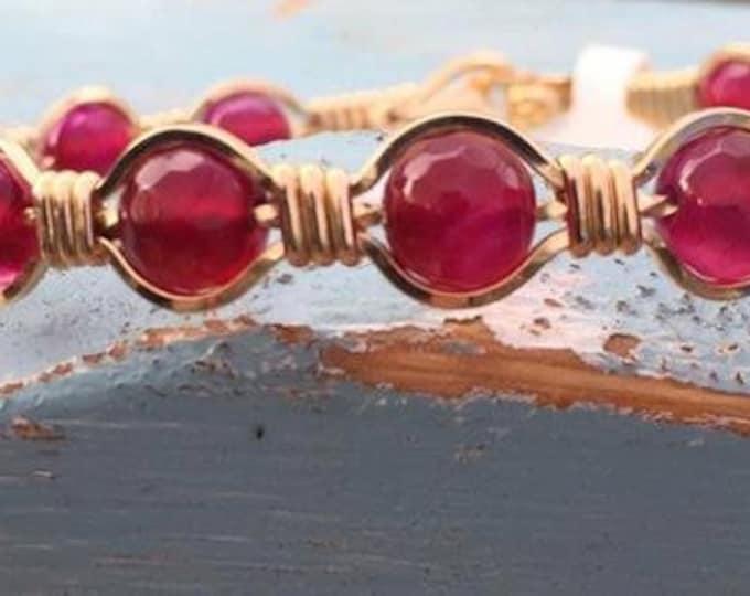 Wire Wrap Jewelry,Gold Bracelet,Gemstone Bracelet,Purple Gemstone,Hand crafted,Wire Jewelry