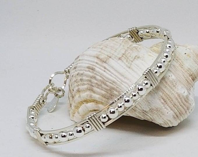 Silver bead bracelet, Argentium Silver, Sterling Silver, Silver bracelet