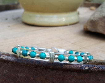 Turquoise,Sterling Silver,Wire wrapped,Wire weave,Handmade,Hand crafted,Argentium Silver